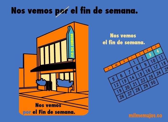 por el fin de semana; Spanish learners; frequent mistakes; ELE; errores frecuentes; español lengua extranjera