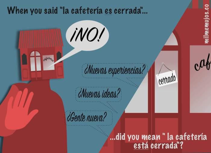está cerrado; es cerrado; ELE; ser y estar; Spanish learners