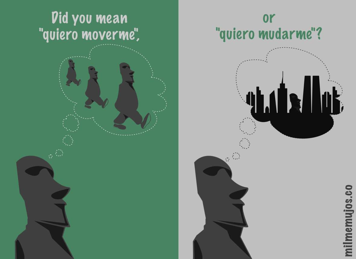 """move to"" in Spanish; frequent mistakes; errores frecuentes; Spanish learners; ELE; moverse y mudarse"