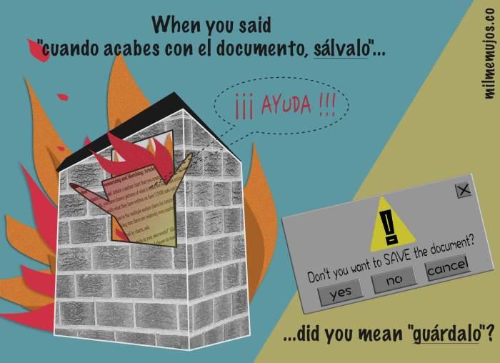 false cognates; falsos amigos; ELE; español lengua extranjera; errores frecuentes; salvar el documento; guardar el documento