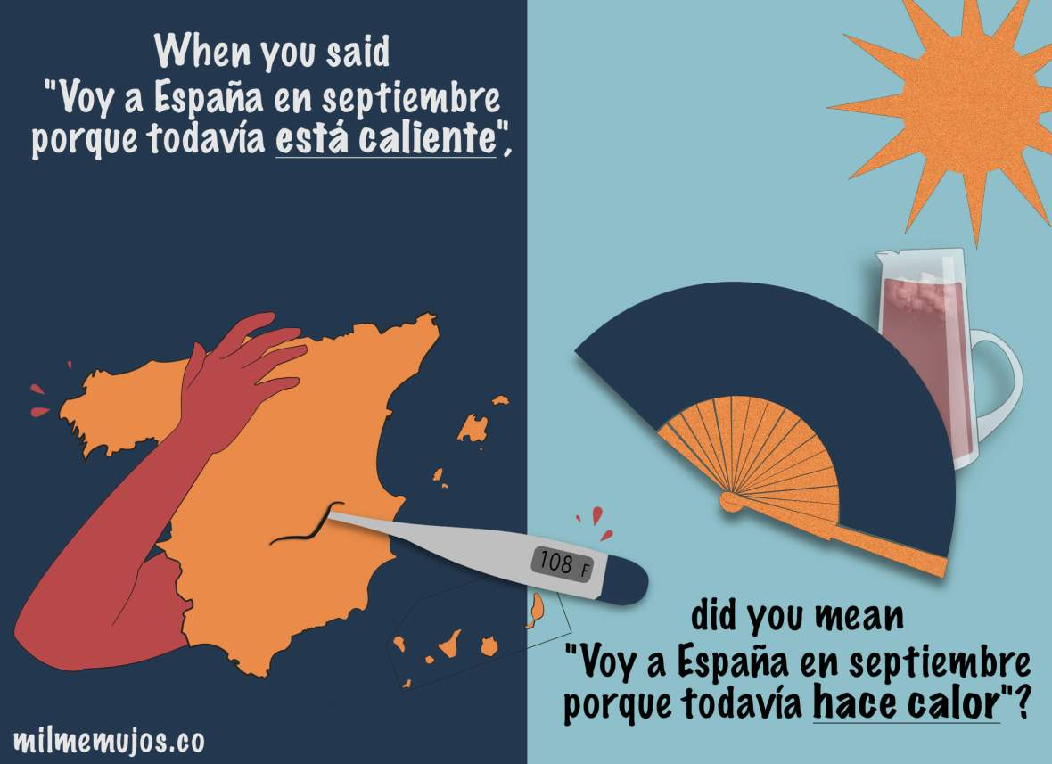Spanish Speakers; Frequent mistakes; ELE; está caliente vs. hace calor; it´s hot in Spanish