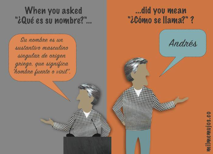 Spanish learners; ELE; frequent mistakes; ¿Qué es tu nombre? vs. ¿Cómo te llamas?