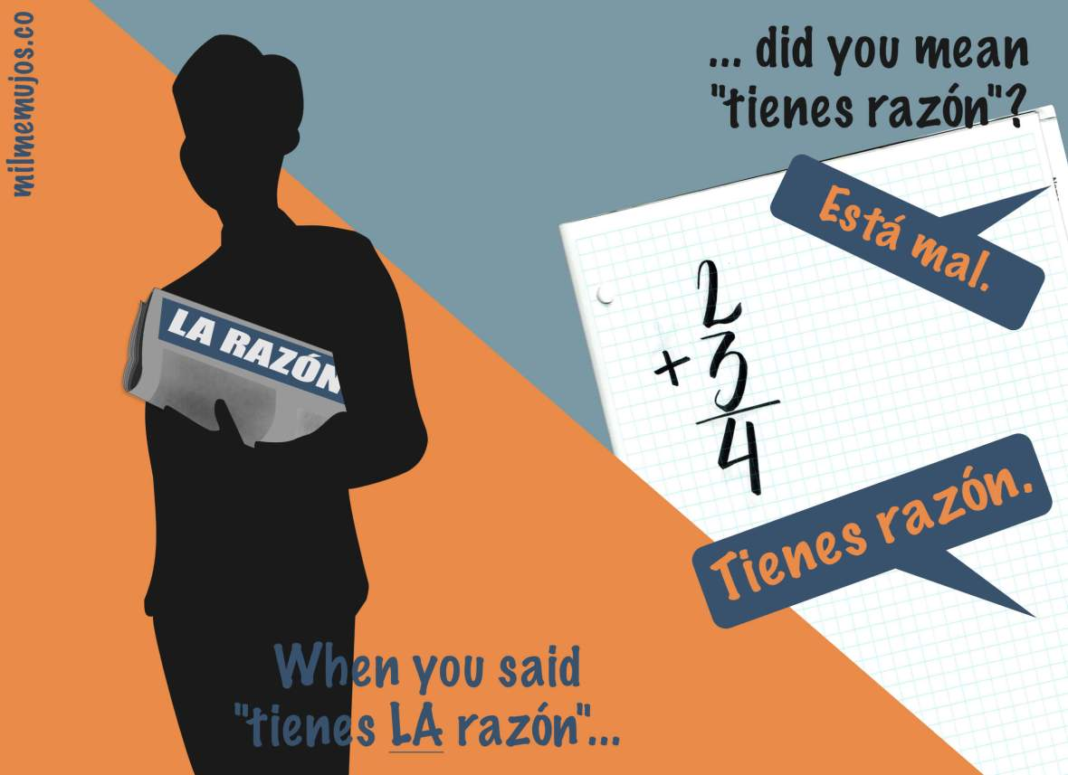 "Frequent mistakes; ELE; Spanish learners; how do you say ""you´re right in Spanish?; ""tienes LA razón"" versus ""tienes razón"""