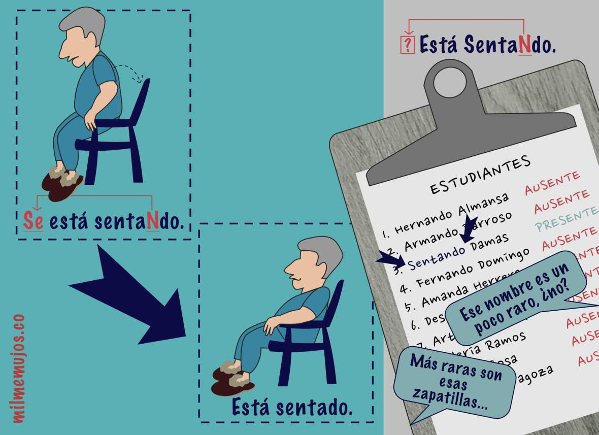 """Frequent mistakes; """"se está sentando"""" vs. """"está sentado"""" vs""""está sentando""""; ELE;"""